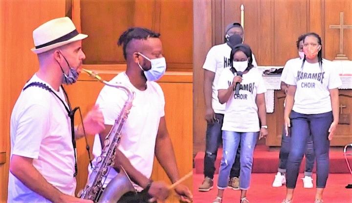 樂隊演出歌曲《Fanga Alafia》及科隆聯合教堂合唱團演唱。(圖:視頻擷圖)