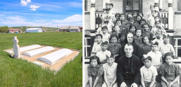 瑪麗瓦爾印第安寄宿學校原址、當年的學童與神父修女。(圖:網絡圖片)
