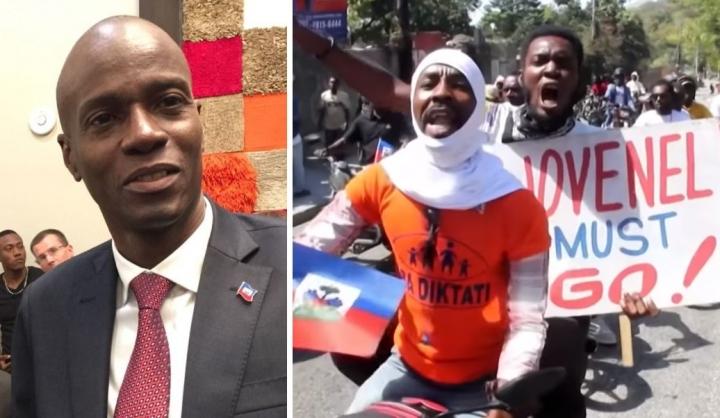 莫伊茲總統任期引發爭議,民眾街頭示威要求他下台。(圖:視頻擷圖)