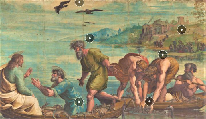 「捕魚神蹟」掛毯圖。 (圖:倫敦V&A博物館網頁擷圖)