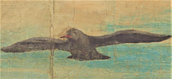 「捕魚神蹟」天空飛鳥含食物。(圖:倫敦V&A博物館網頁擷圖)