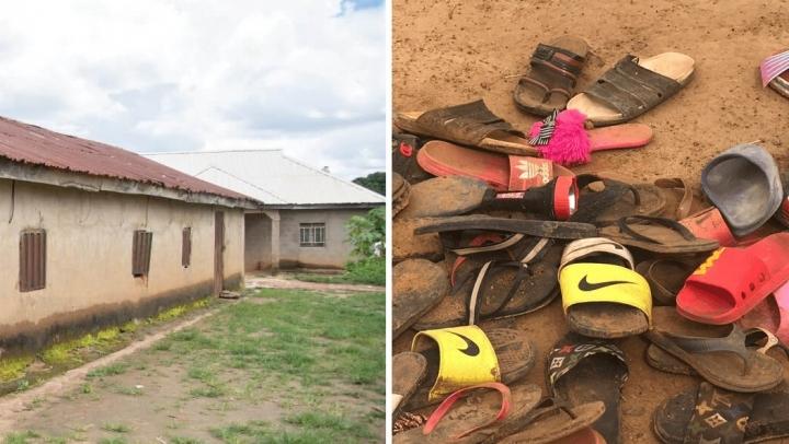 尼日利亞學校周邊缺少防衛、學生遺留鞋子。(圖: VOMK)