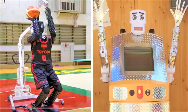 「投籃機械人CUE3」及「祝福機械人U-2」。(圖:視頻擷圖)