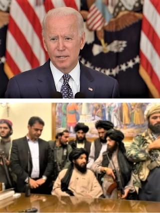 上圖:美國總統拜登為撤軍辯護<br /> 下圖:塔利班領袖入主阿富汗總統府