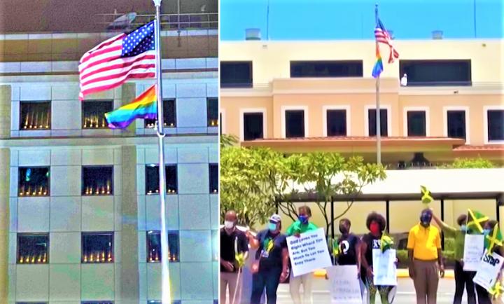 美國駐港領事館6月懸掛驕傲旗;牙買加民眾在美大使館抗議。(圖:網絡及視頻擷圖)