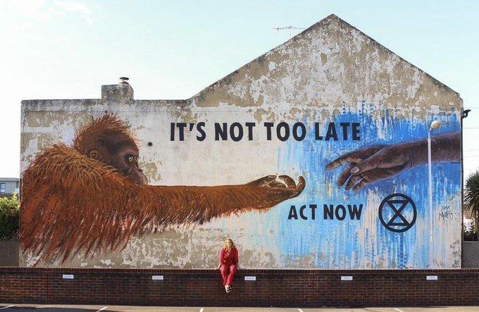 「氣候變化峰會之路」宣傳牆畫。(圖:Camino to COP)