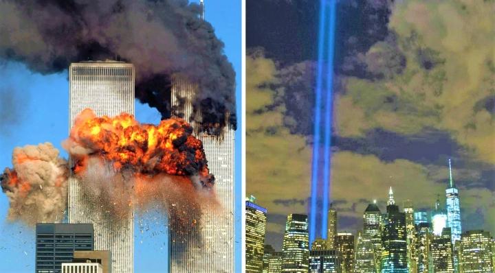 紐約世貿中心雙子塔遇襲一刻[左]、原址重建的紀念碑晚上打出兩道激光柱[右]。(圖:網絡圖片)