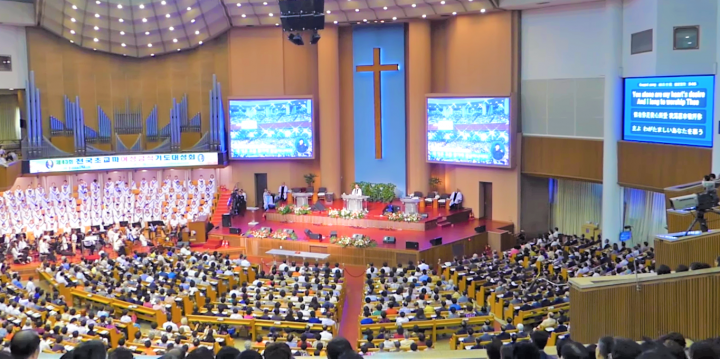 南韓汝矣島純福音教會萬人崇拜情況。(圖:視頻擷圖)