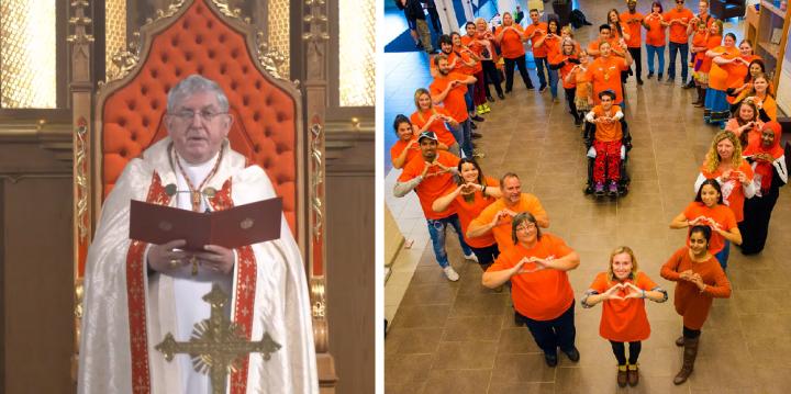 柯林斯總主教發表禱文/學生在過往「橙衣日」活動。(圖:視頻擷圖/orangeshirtday.org)
