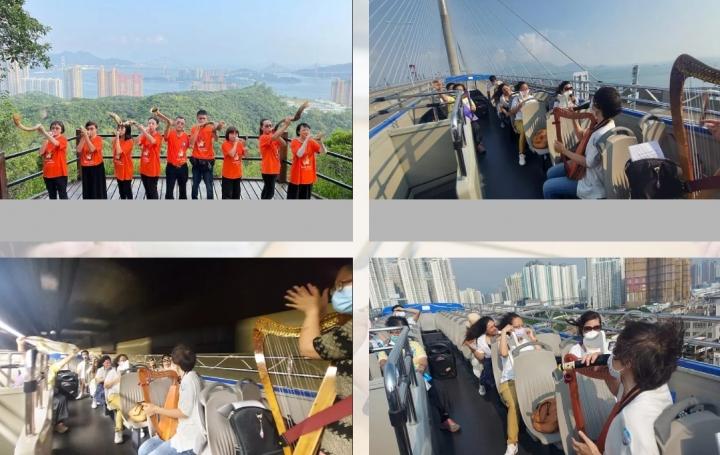 香港祈禱日組員於高山、空中、巴士巡遊禱告。(圖:新曙光事工網)