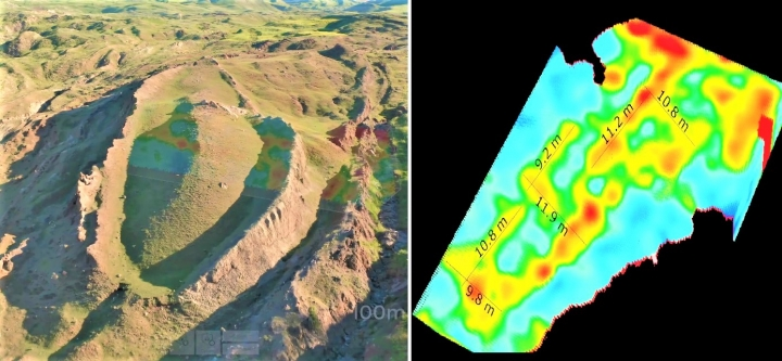發現船形結構的地形及挪亞方舟3D掃描。(圖:視頻擷圖)