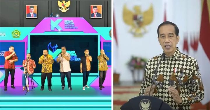 節慶啟動禮音樂表演[左]、印尼總統佐科威致辭。(圖:YouTube擷圖)