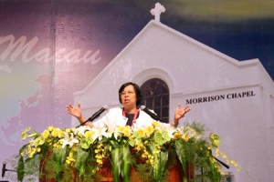 劉達芳博士說,教會必須有效地提出更新策略,積極參與社會改革。(圖:本報記者) <br/>